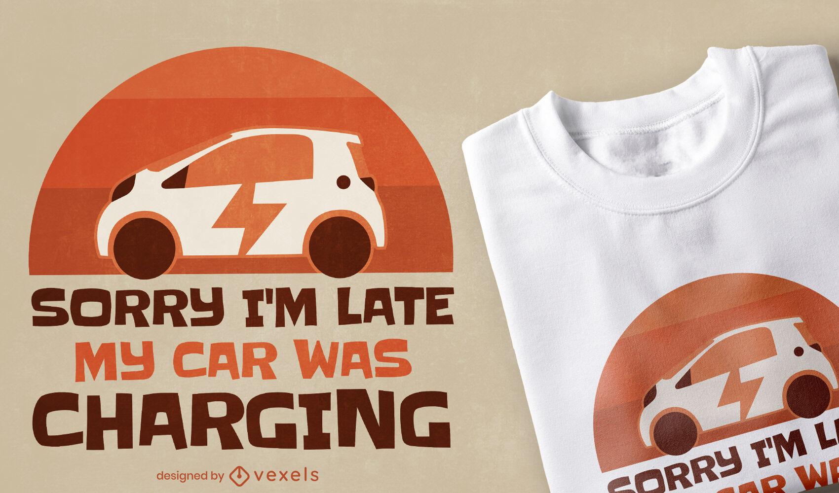 Diseño de camiseta de carga de coche eléctrico.