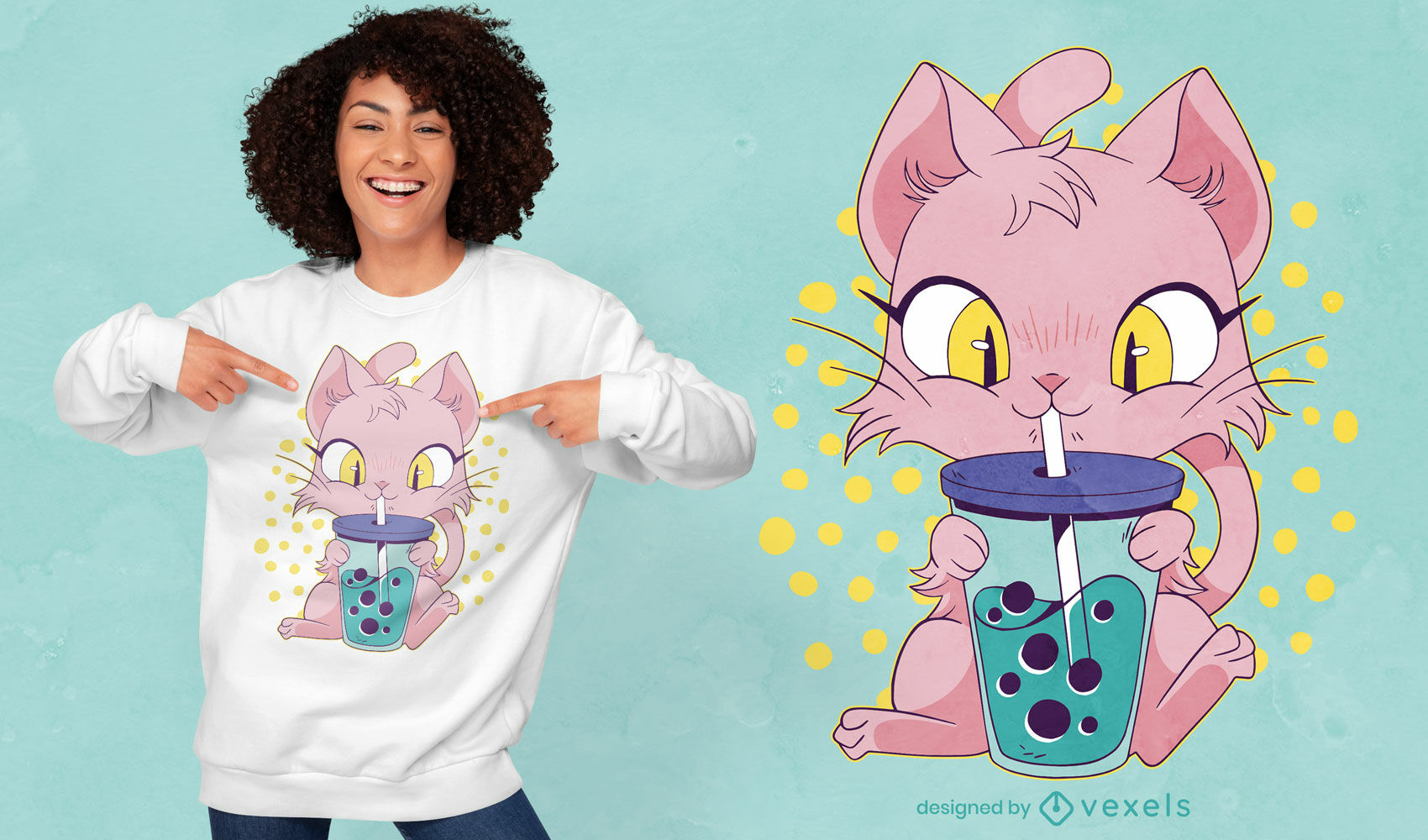 Cute anime cat drinking boba tea t-shirt design