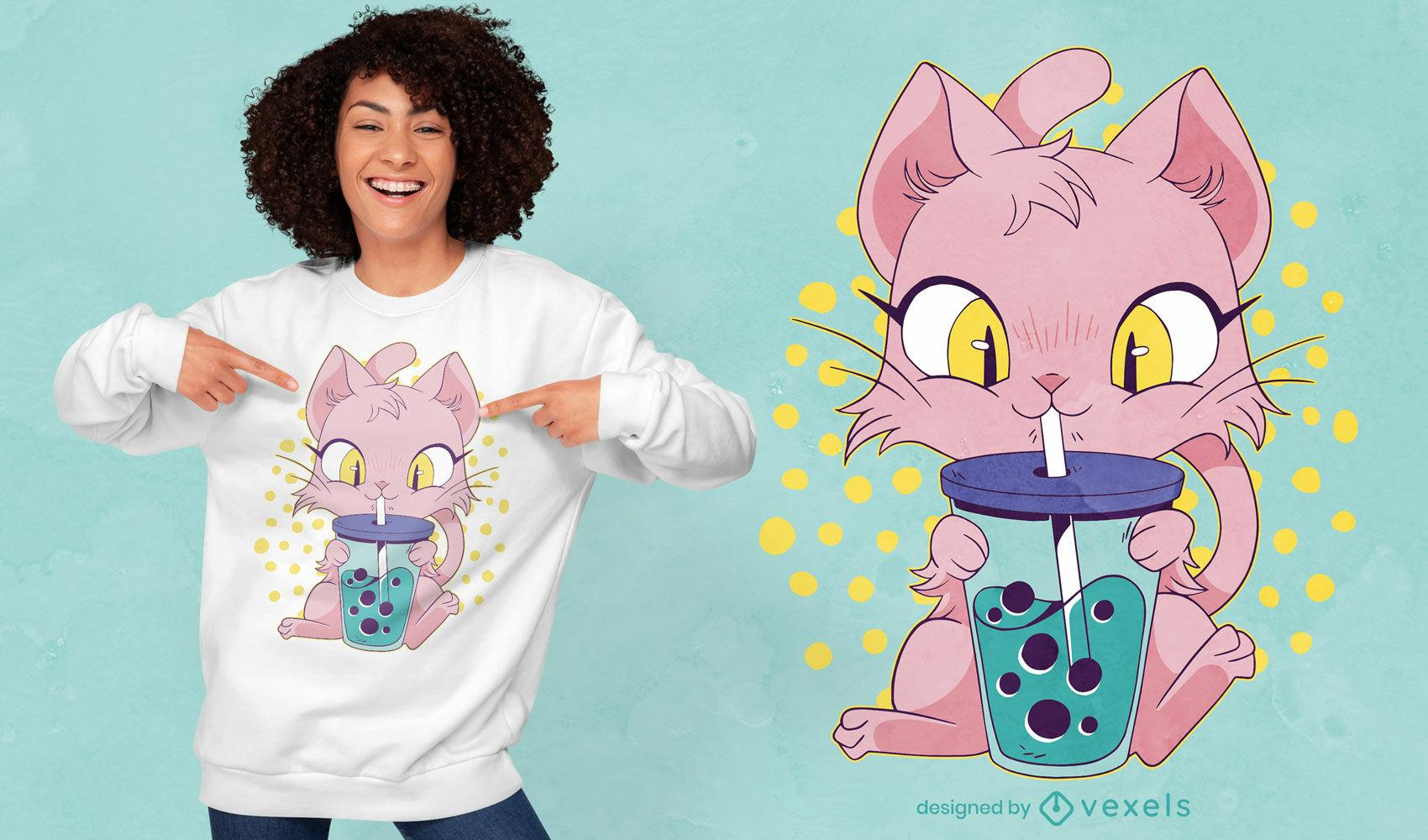 Lindo gato de anime bebiendo t? de boba dise?o de camiseta