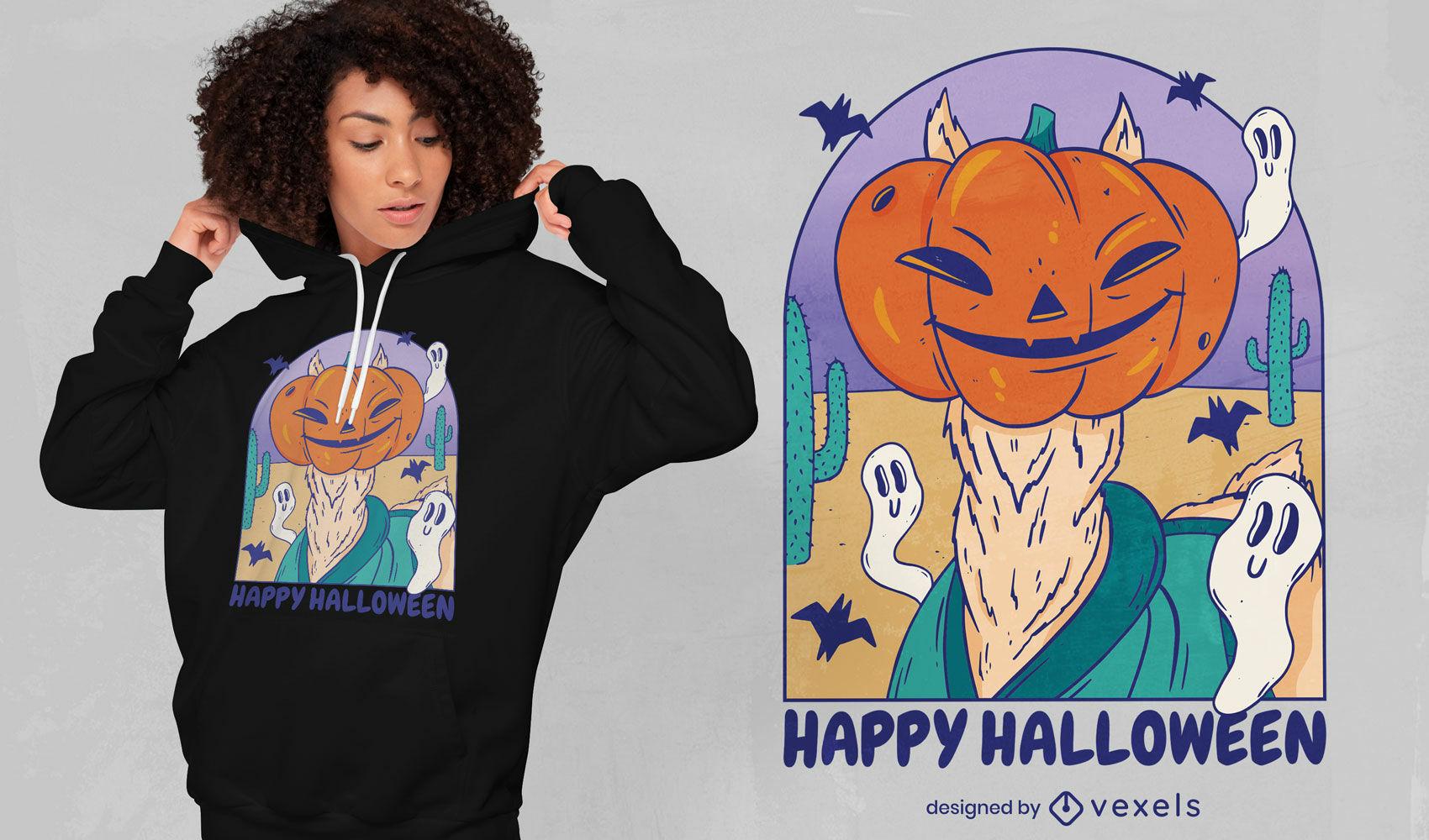Cool Halloween alpaca t-shirt design