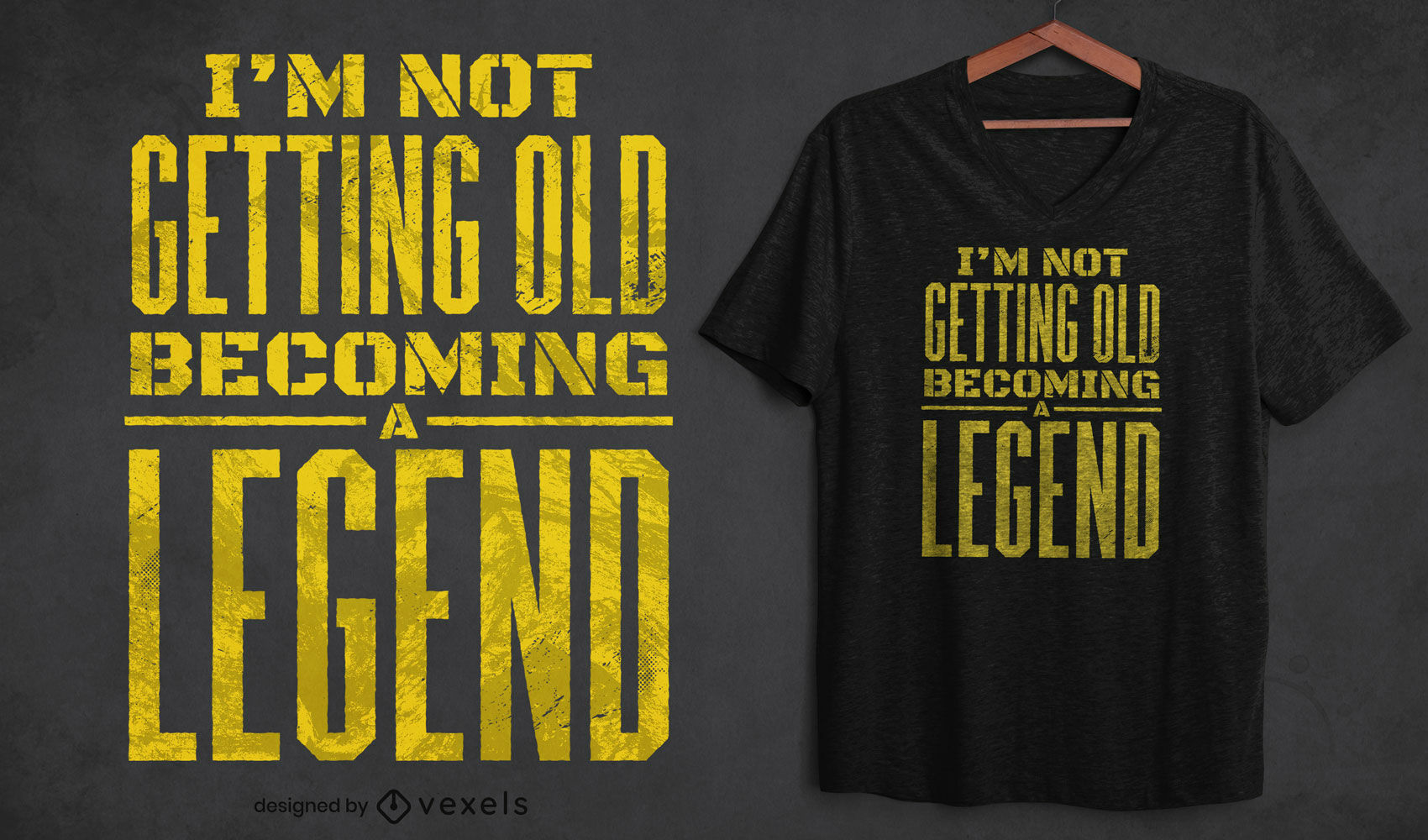 Old legend cita??o t-shirt design psd