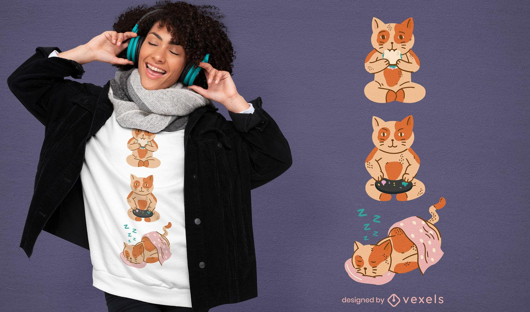 Lindo dise?o de camiseta de gatos naranjas
