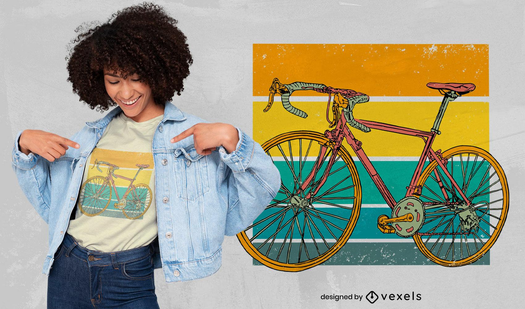 Design de t-shirt retro de bicicleta de corrida