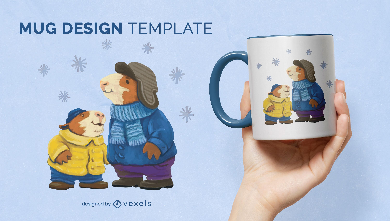 Guinea pig animals in winter mug design