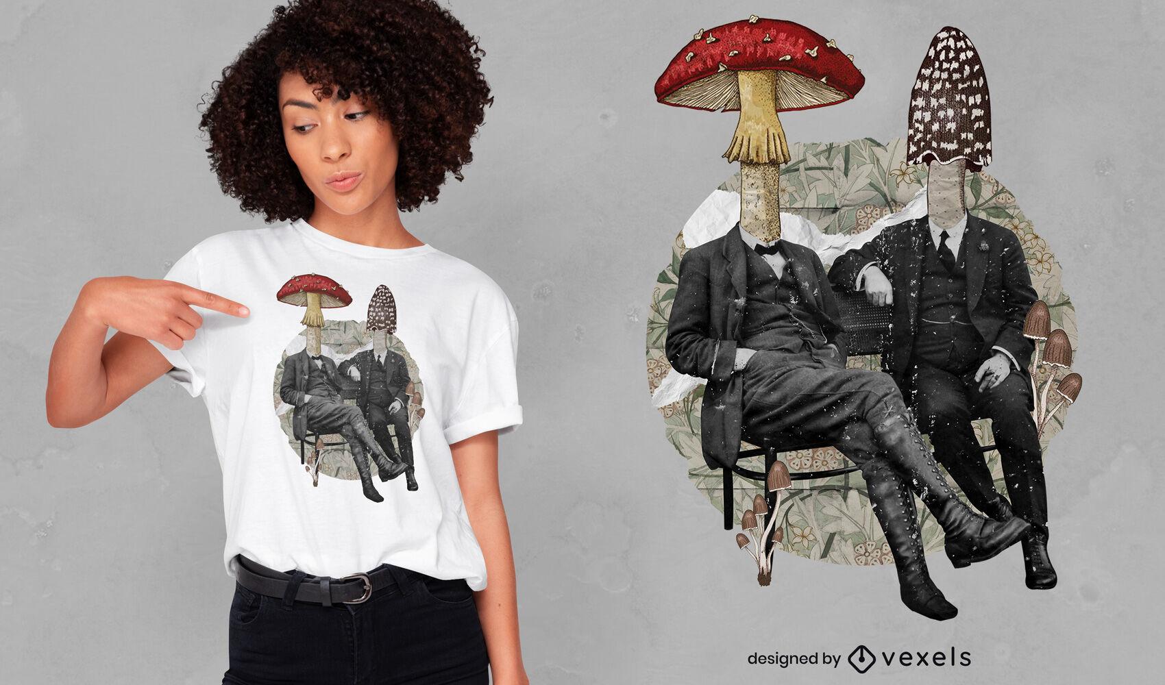 Design de t-shirt psd de colagem de pessoas em cogumelo