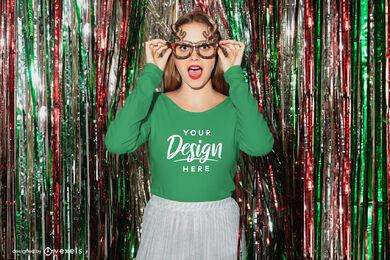 Girl in christmas glasses long sleeve t-shirt mockup