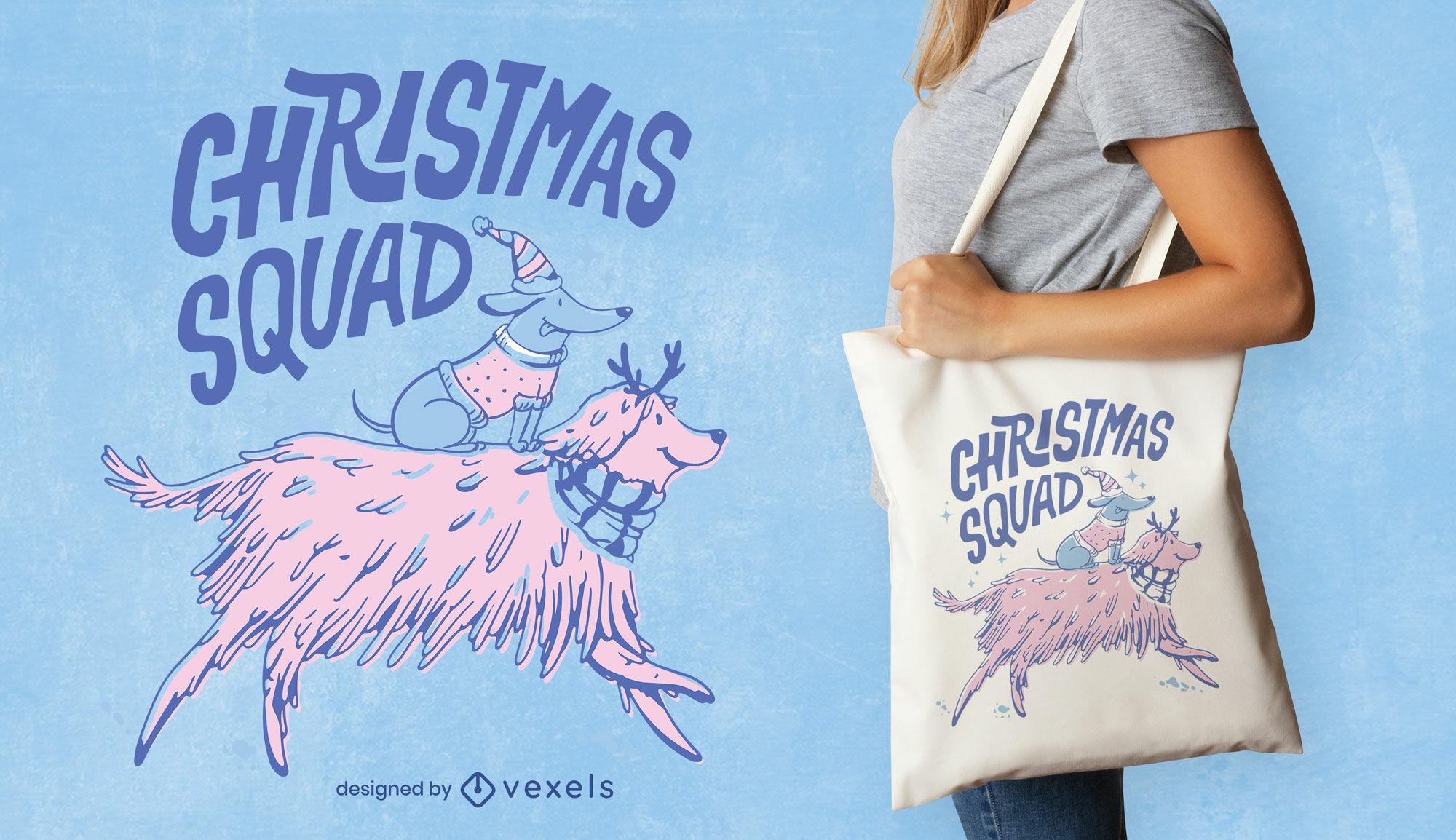 Christmas dog animals tote bag design