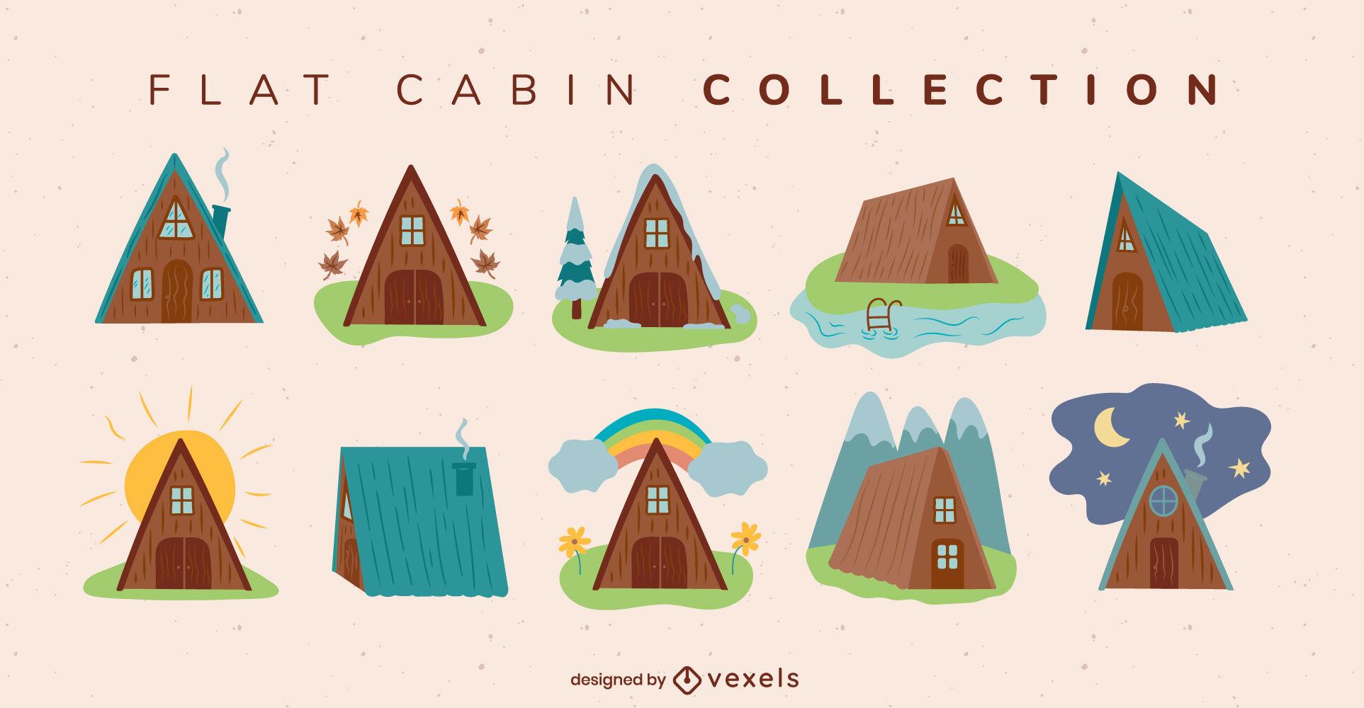 Cabaña plana casa camping colección plana