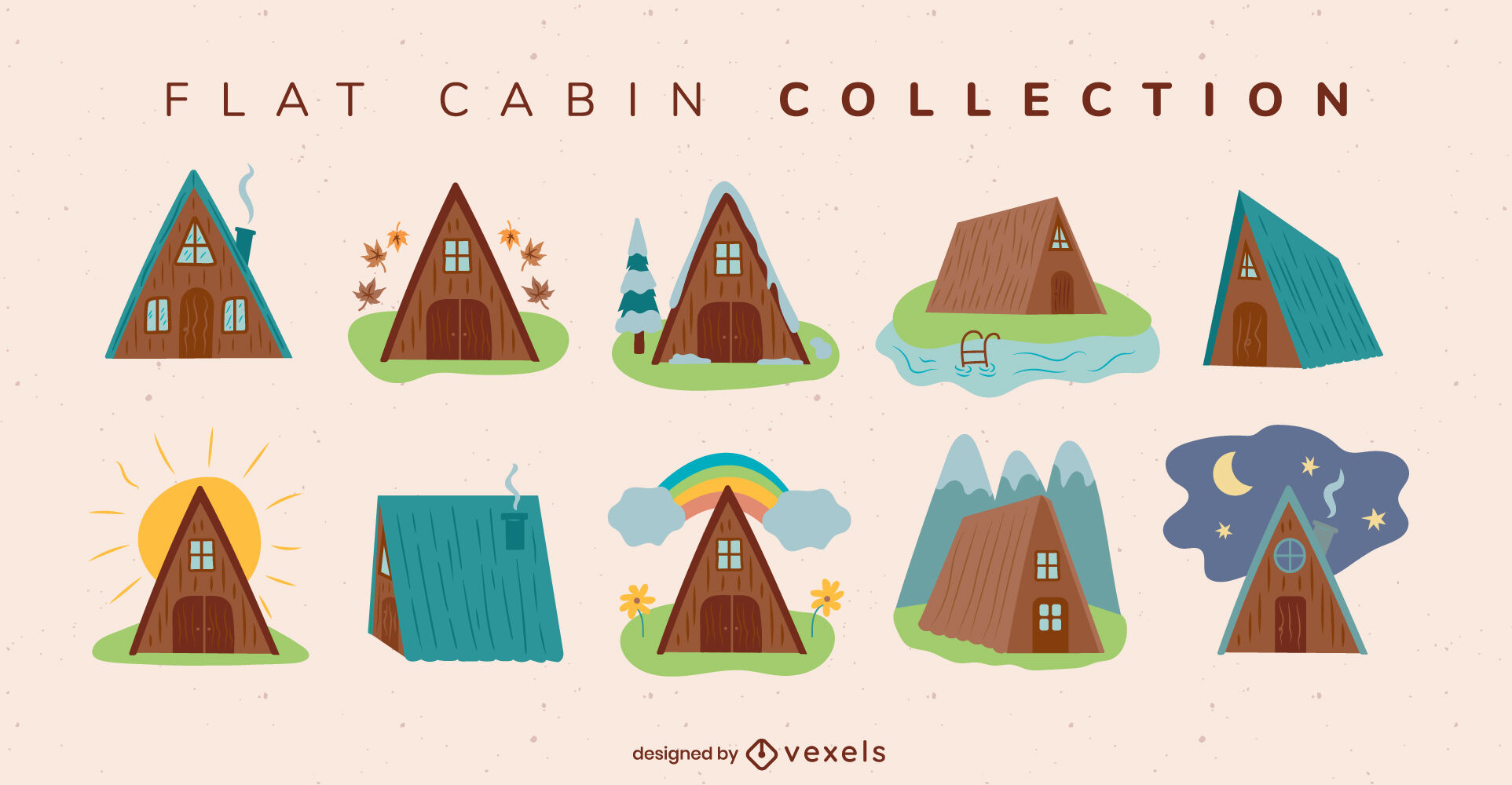 Flat cabin home camping flat collection