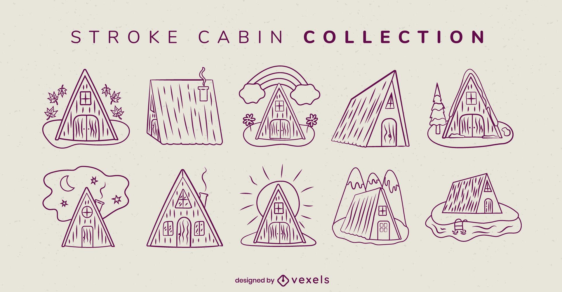Colecci?n de trazos de camping en casa de cabina plana