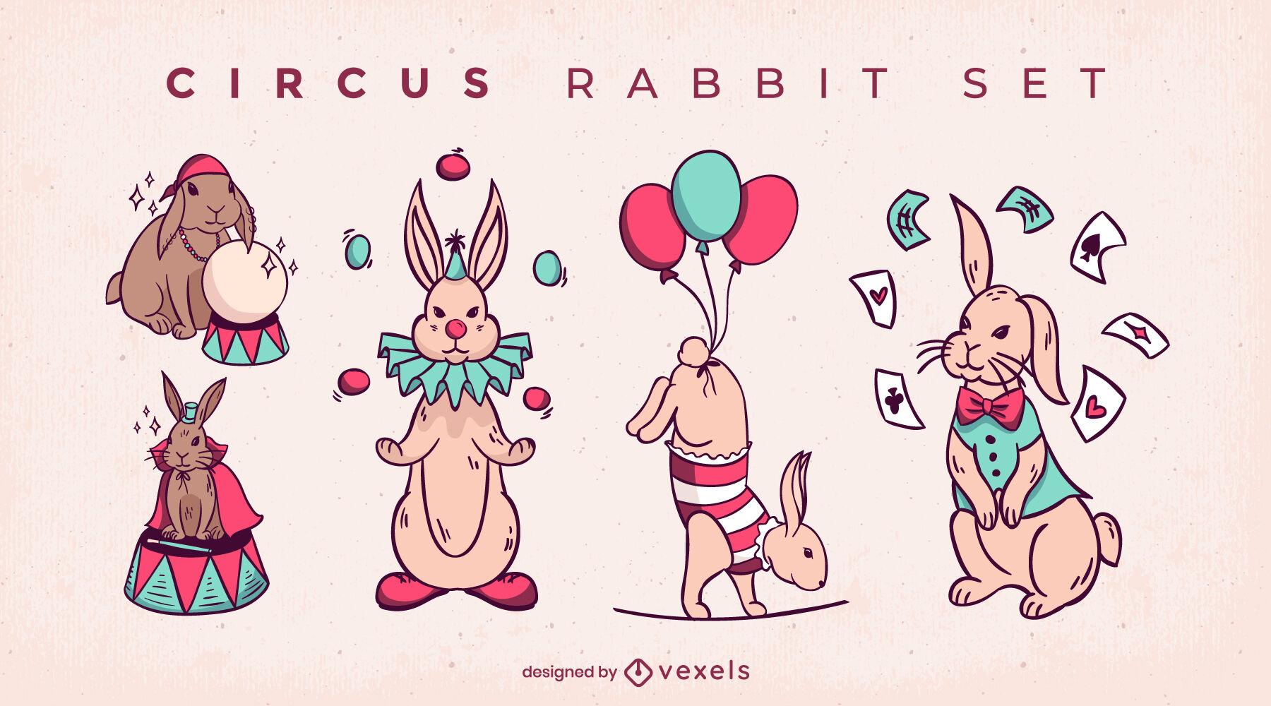 Conjunto de trucos de magia de animales de conejo de circo.