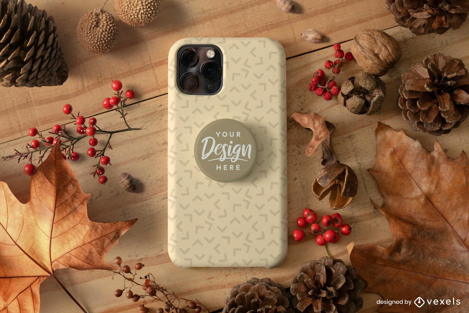 Maquete de capa de telefone com folhas de outono