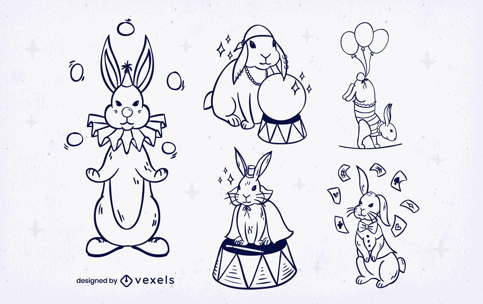 Conjunto de trazos de trucos de animales de conejo de circo