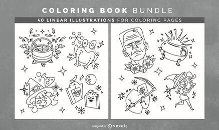 Halloween elementos brillantes libro para colorear páginas kdp
