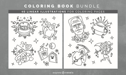 Halloween sparkly elements coloring book kdp pages