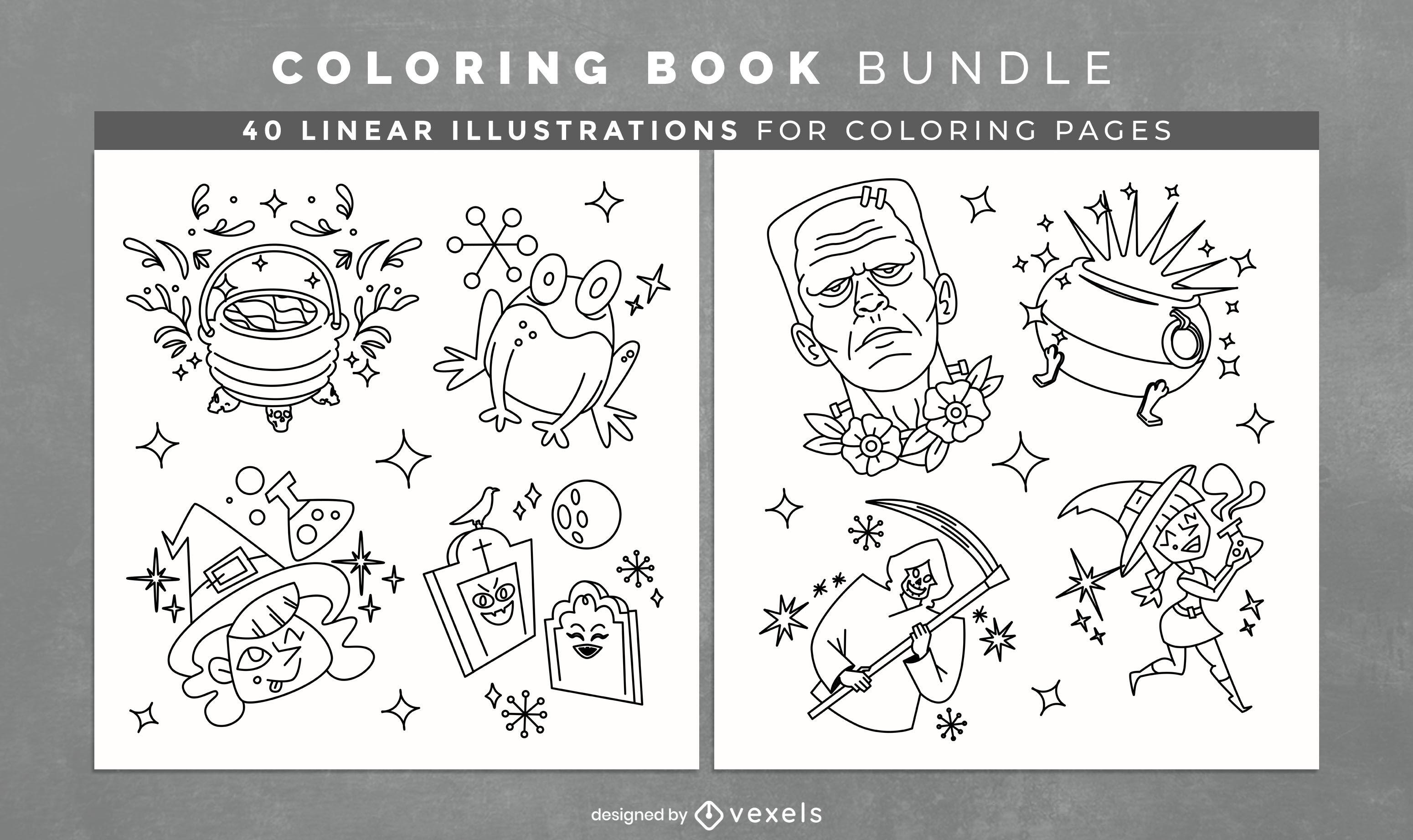 Livro de colorir de elementos brilhantes de Halloween, páginas kdp
