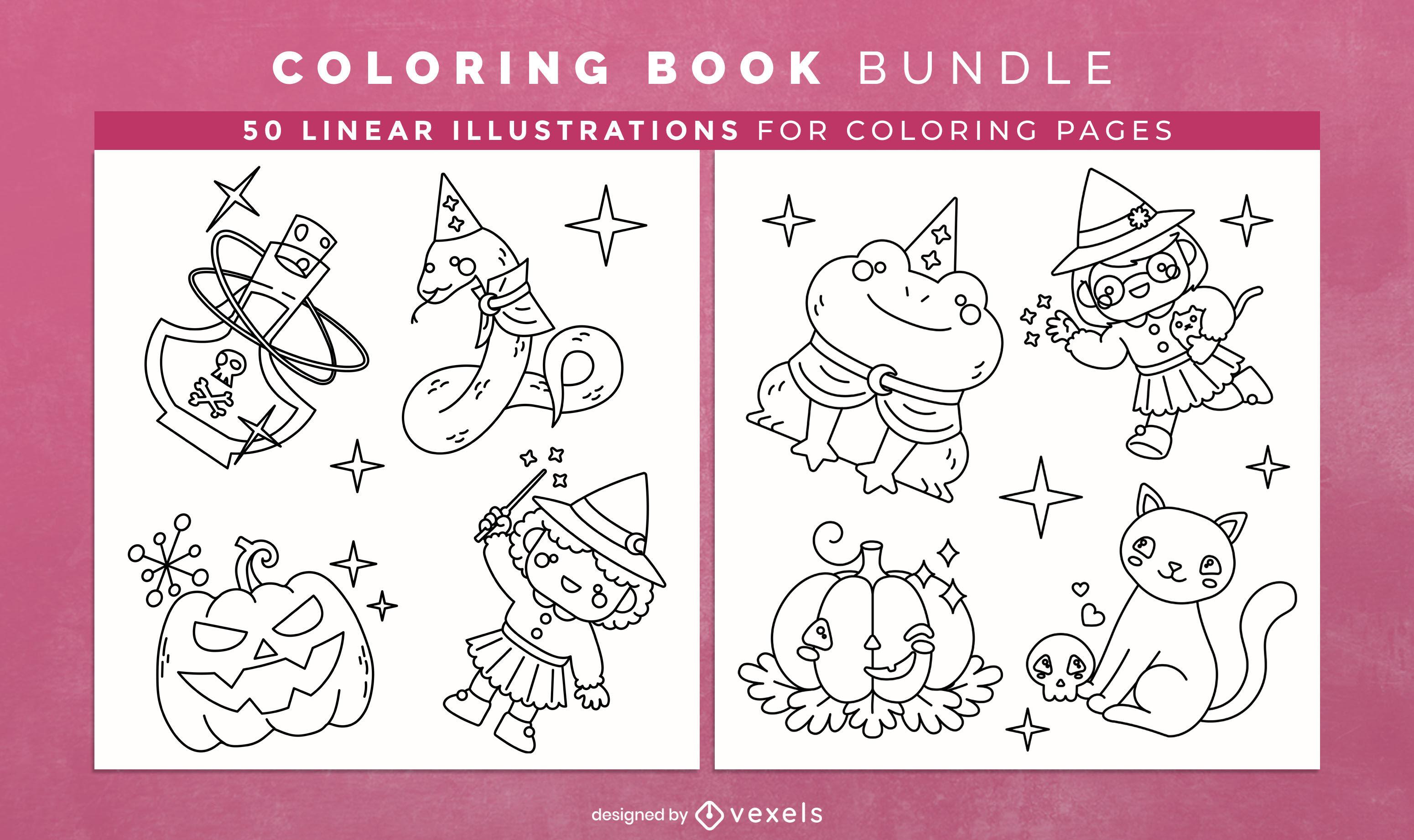 Personagens fofinhos de Halloween para colorir livro pacote kdp
