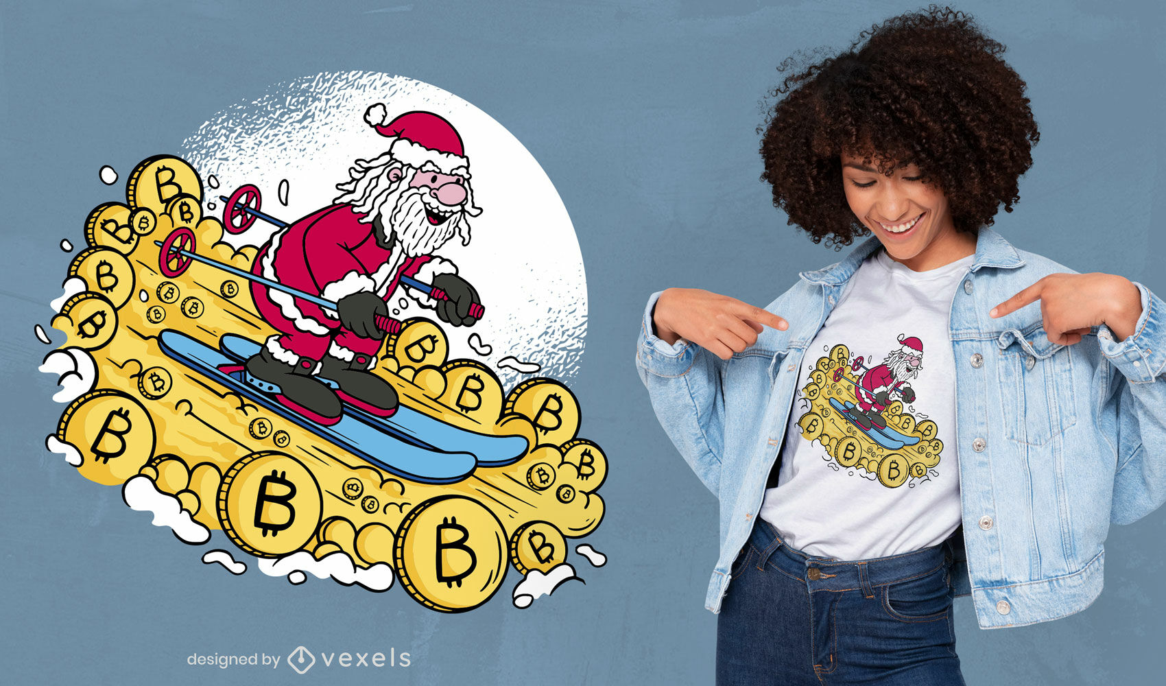 Santa esquiando con dise?o de camiseta bitcoins