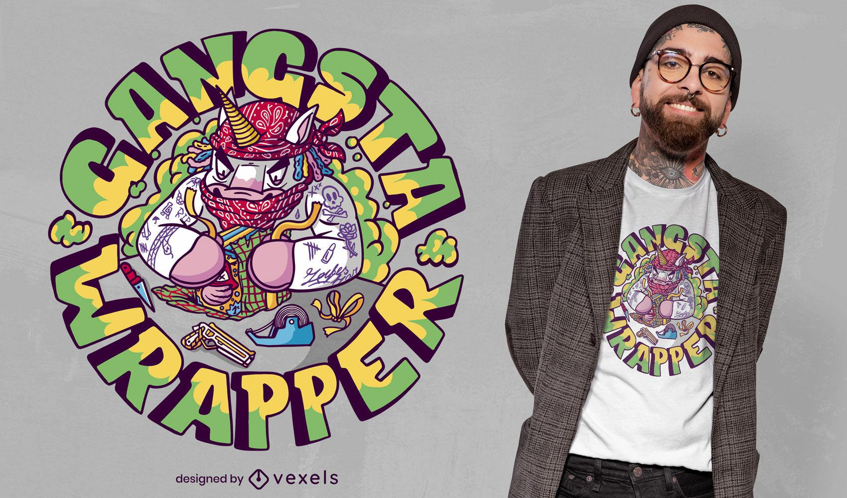 Design de camiseta do Unic?rnio Gangsta