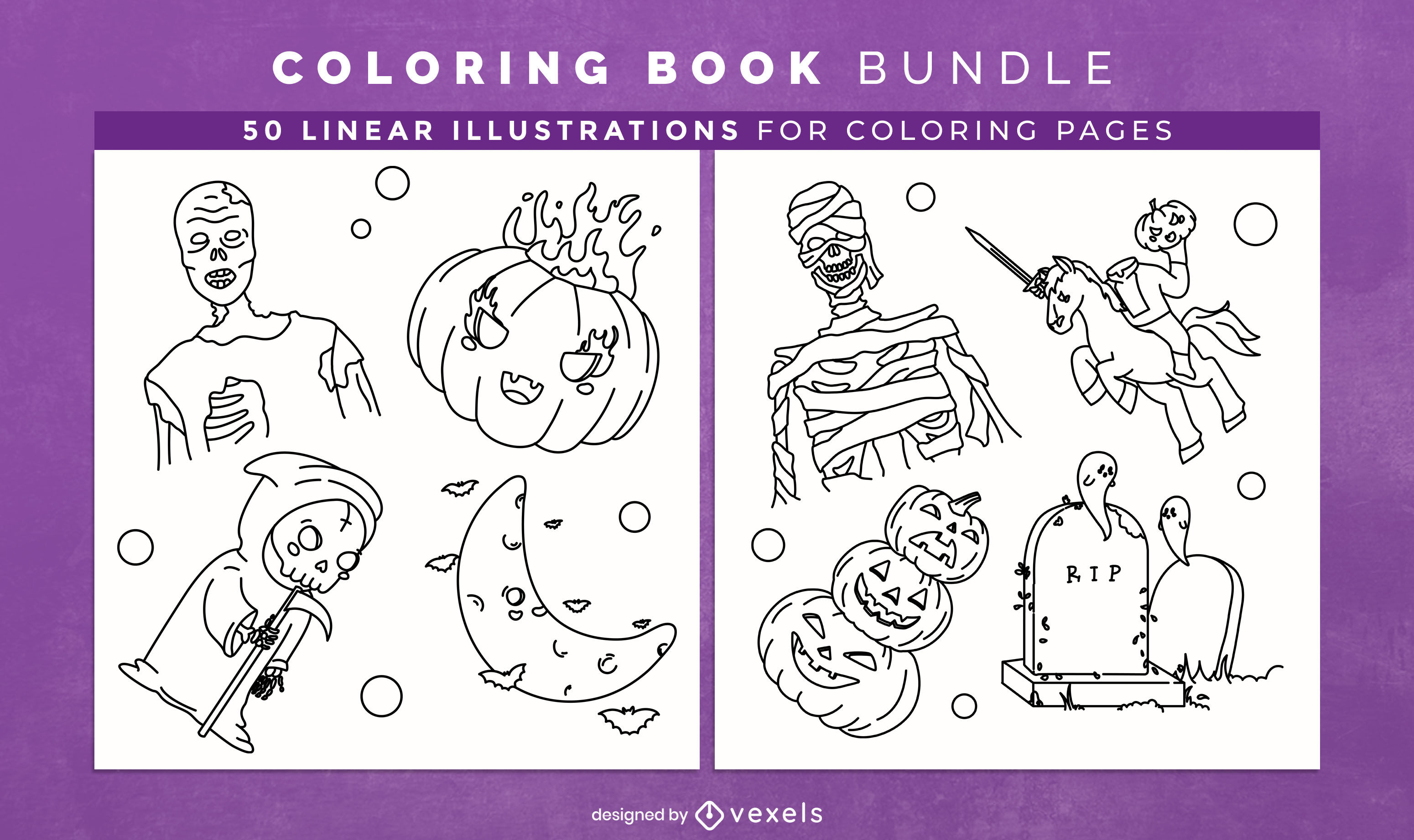 Halloween elements and characters coloring book kdp