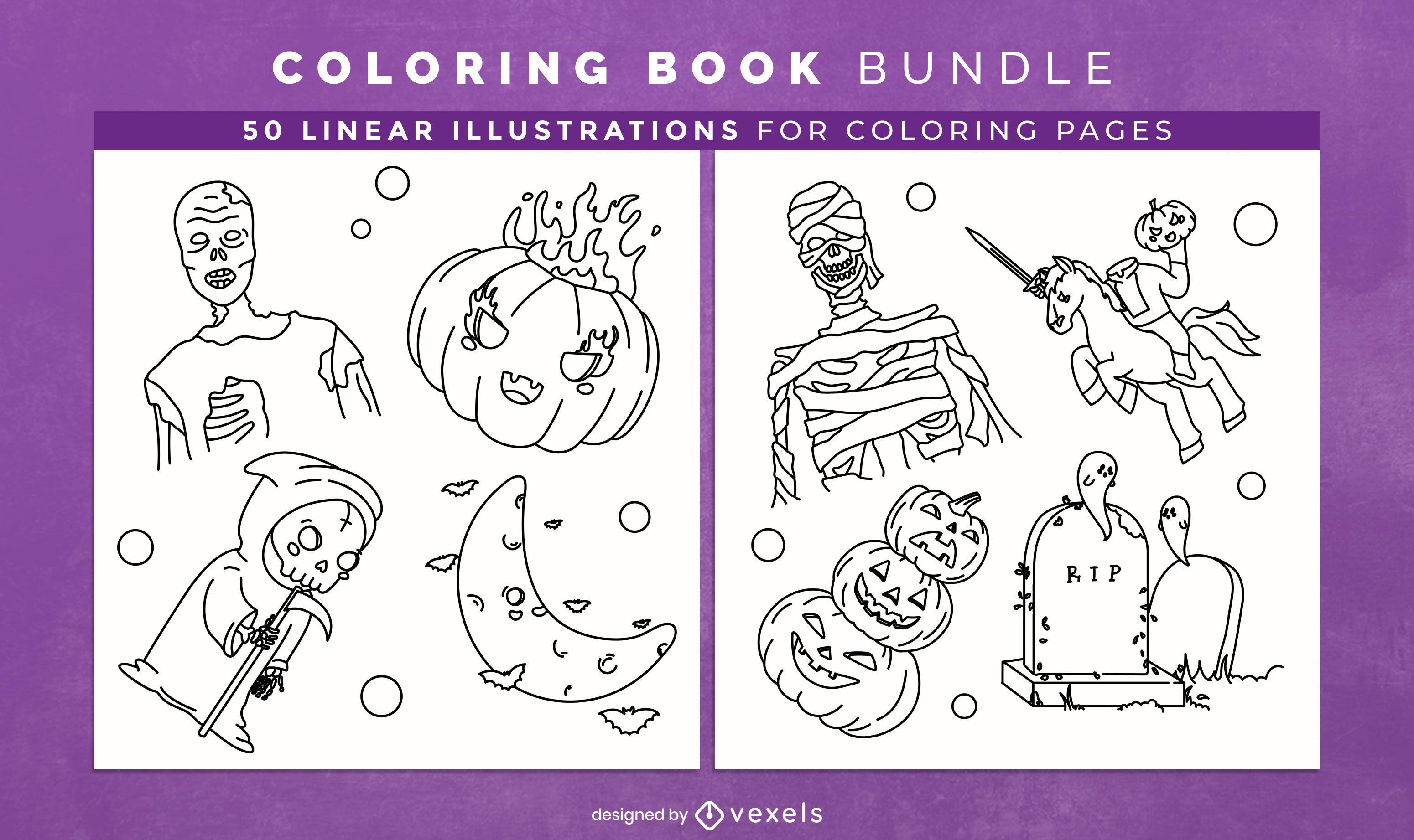 Livro de colorir de personagens e elementos de Halloween kdp