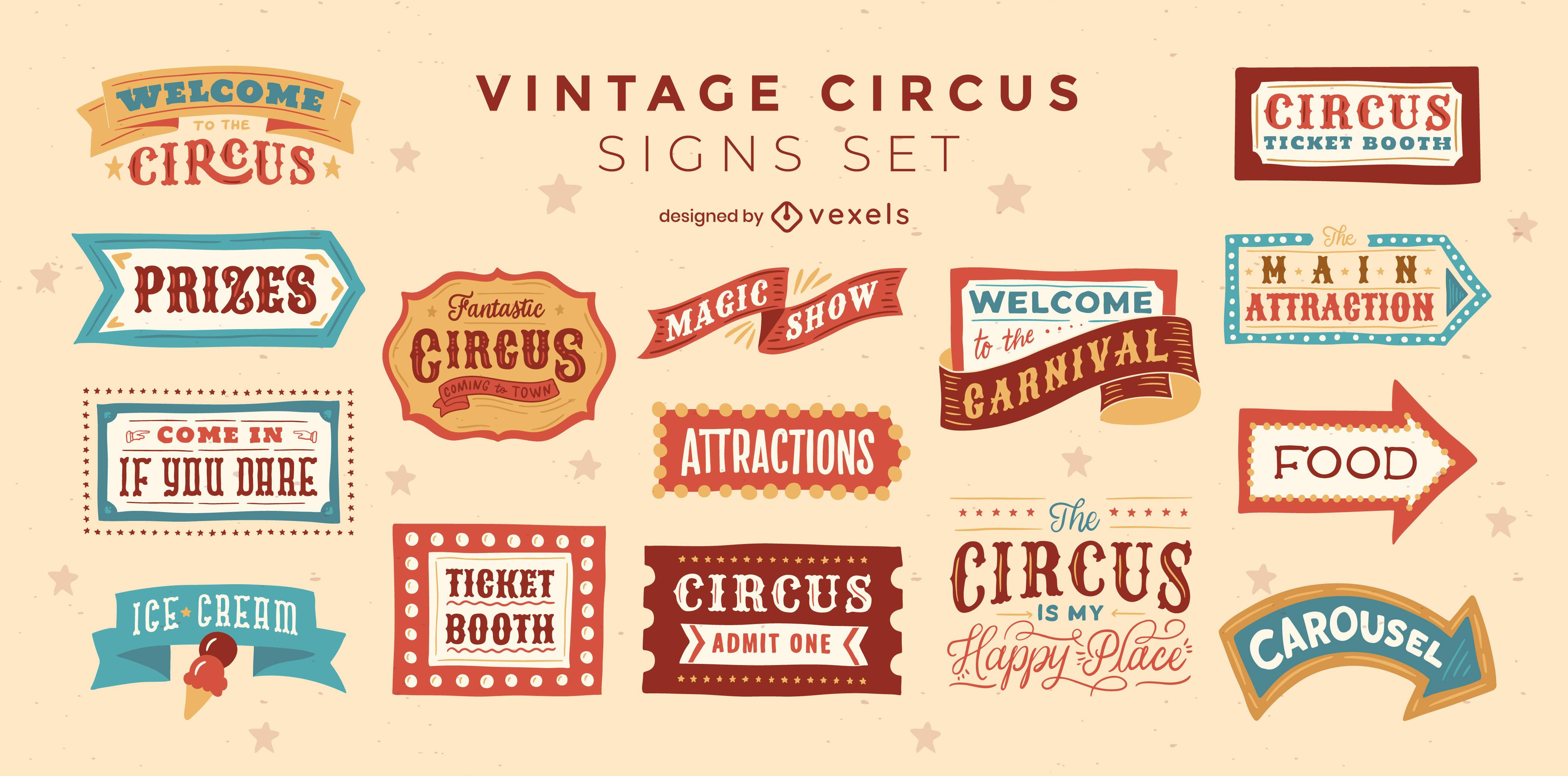 Zirkus- und Karnevalsschilder Vintage-Abzeichen-Set