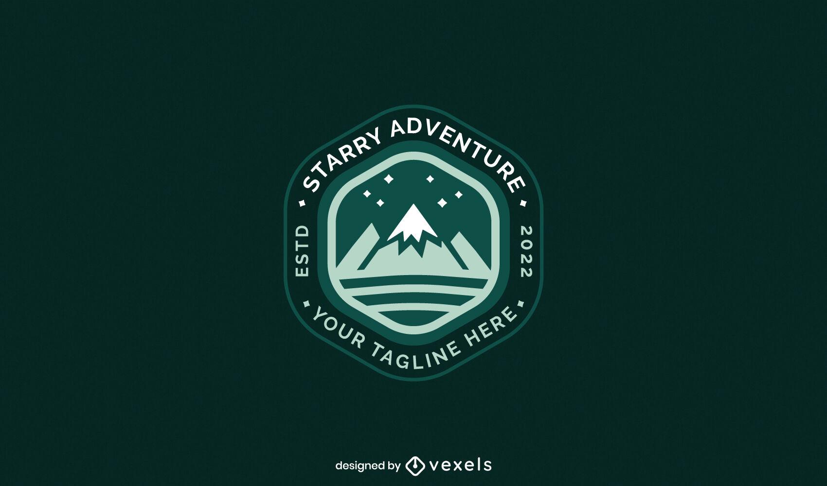 Plantilla de logotipo de naturaleza de montañismo