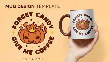 Cartoon pumpkin on fire mug template