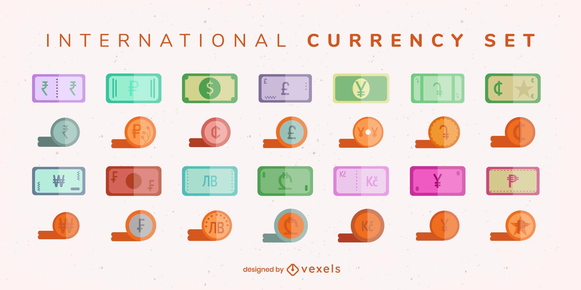 Conjunto de billetes y monedas de moneda internacional