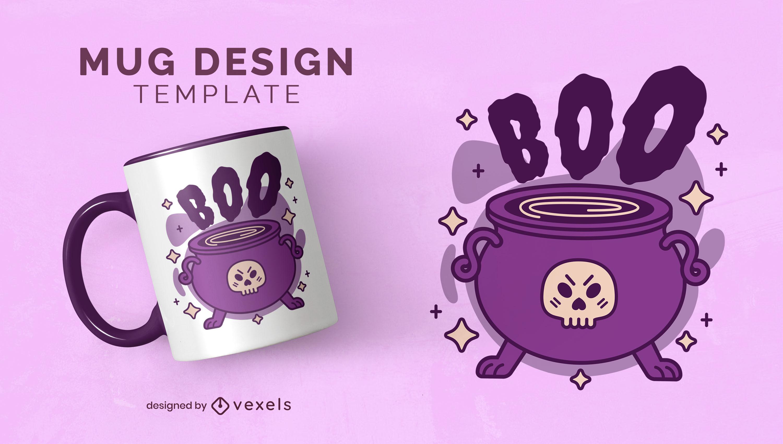 Magical potion skull cauldron mug design