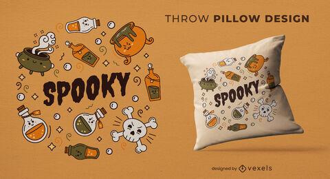 Cute magical potions throw pillow design