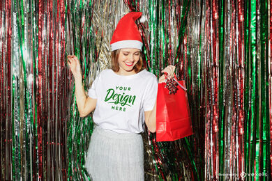White t-shirt mockup girl in christmas hat