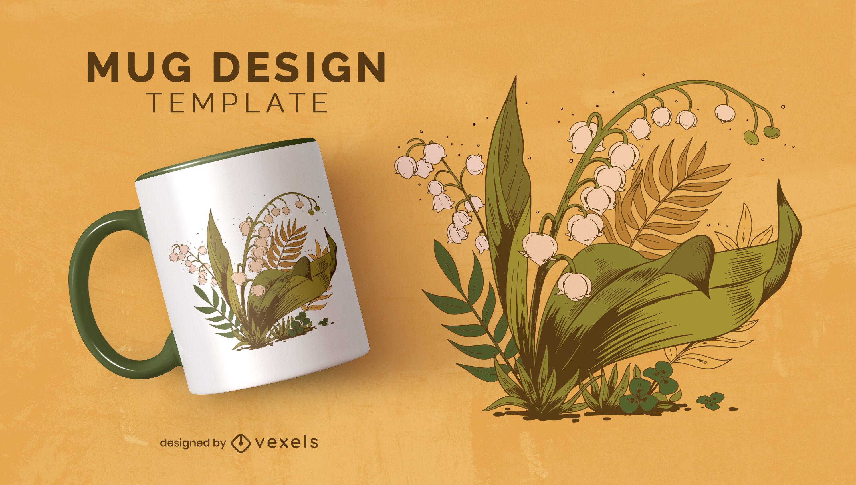 Leaves and plants illustration mug design