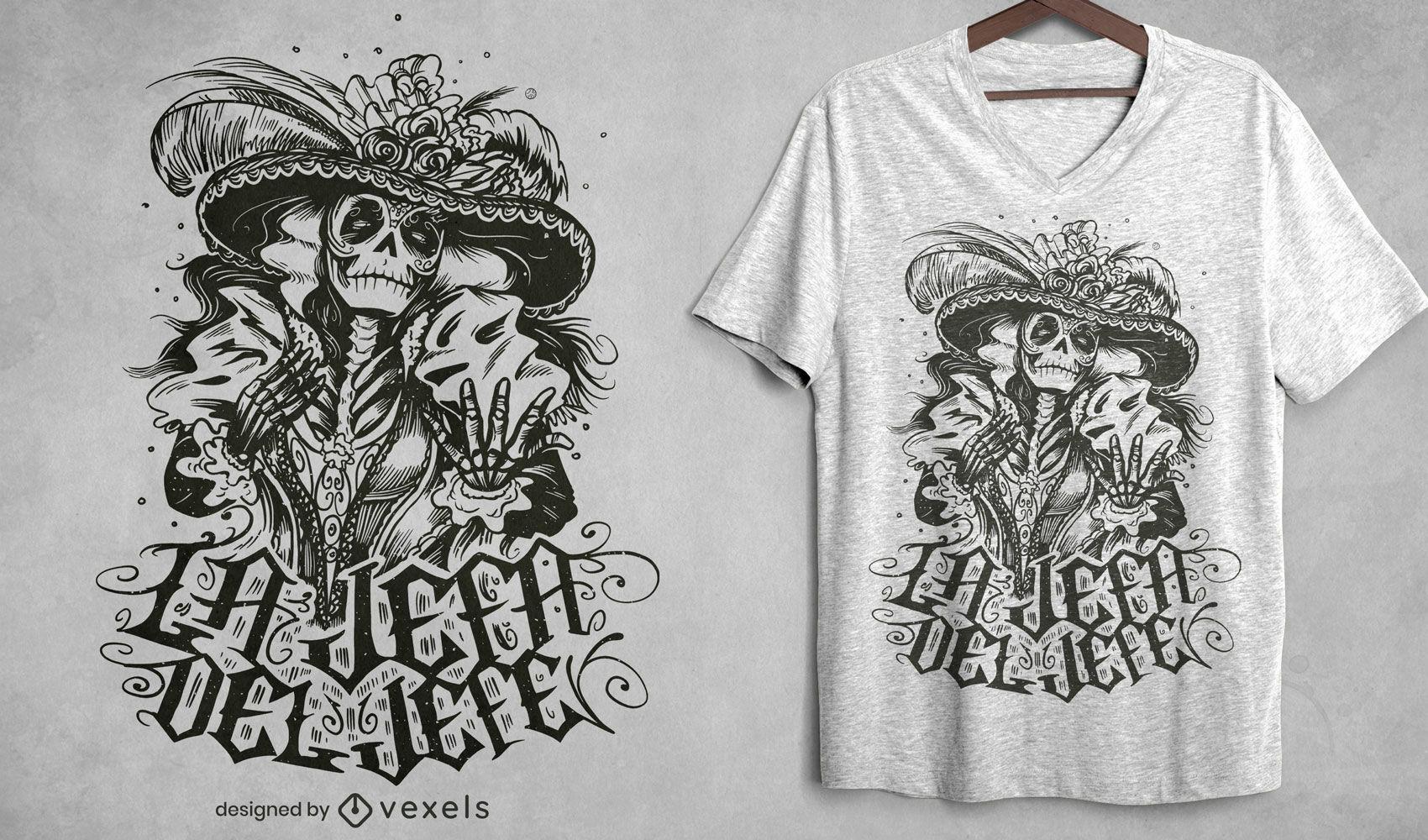 Diseño de camiseta esqueleto personaje mexicano dibujado a mano