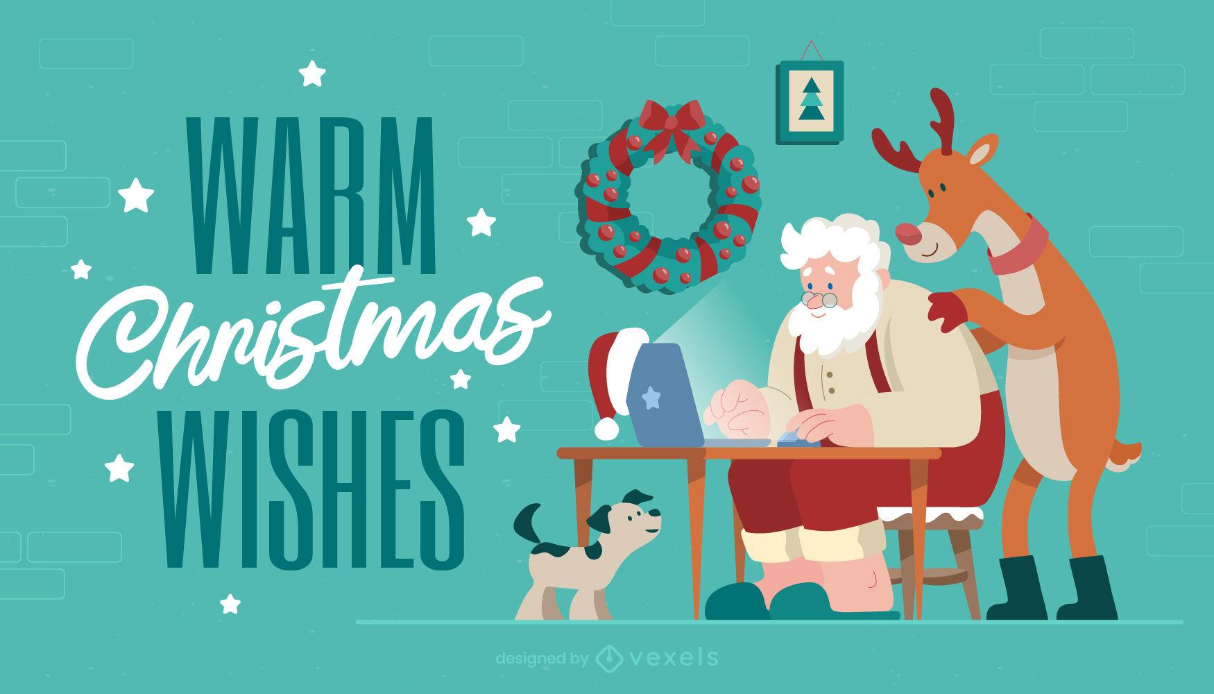 Navidad desde casa con santa claus ilustración