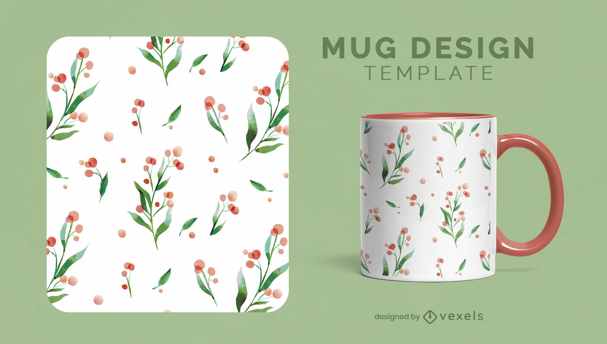 Berry fruits and leaves nature mug template