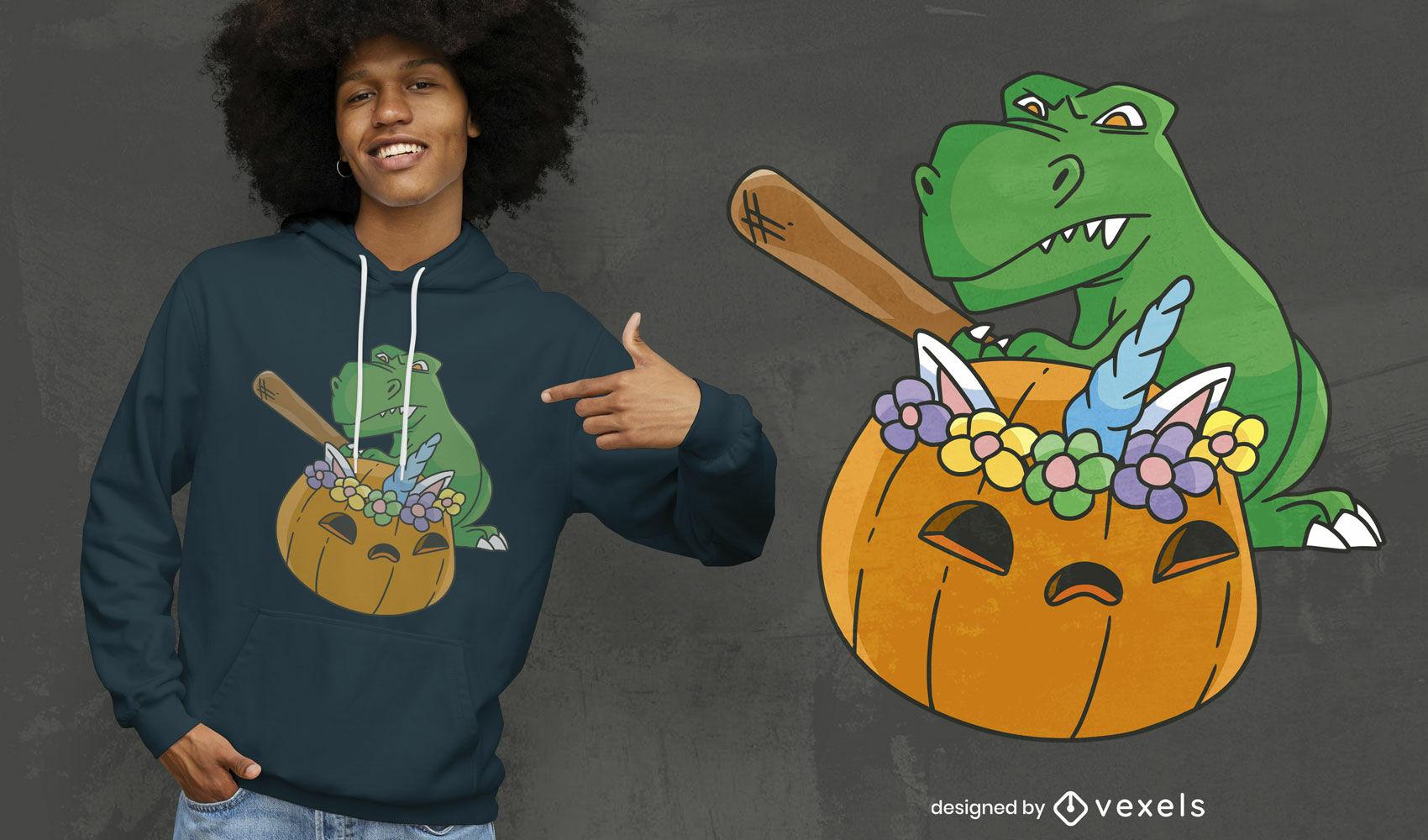 T-rex dinosaur with unicorn pumpkin t-shirt design