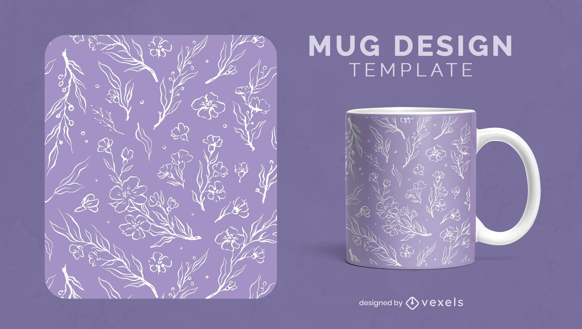 Flowers and leaves line art mug template