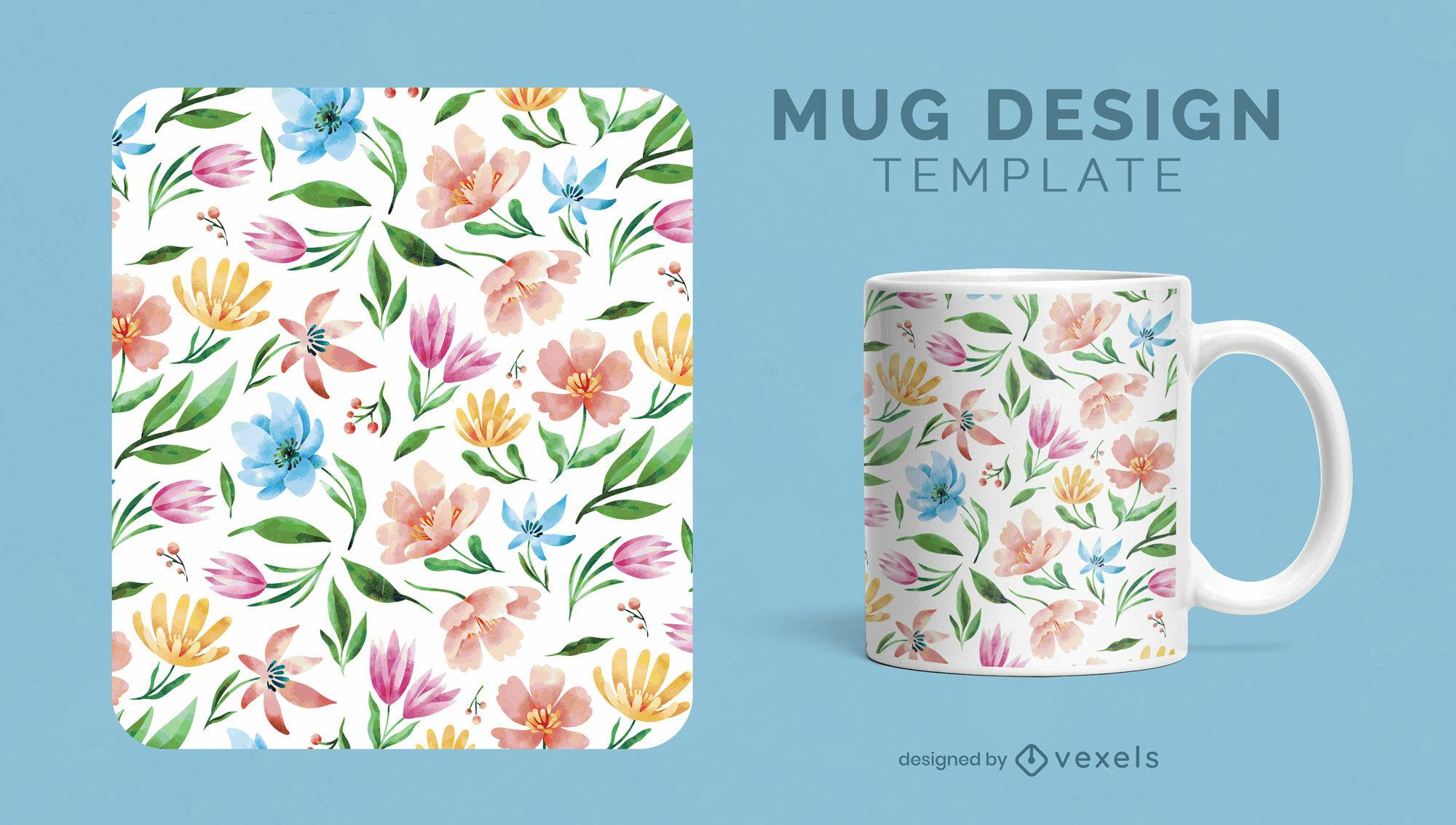 Diseño de taza de acuarela de flores y plantas.