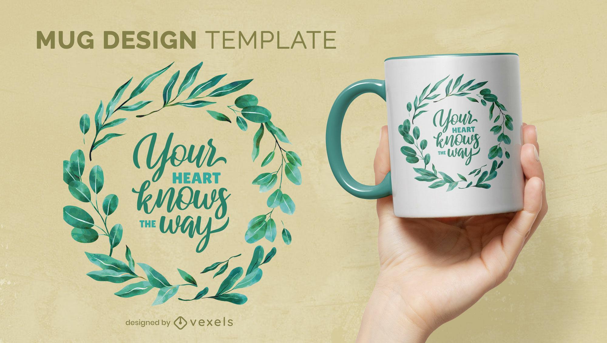 Ring of leaves watercolor mug template
