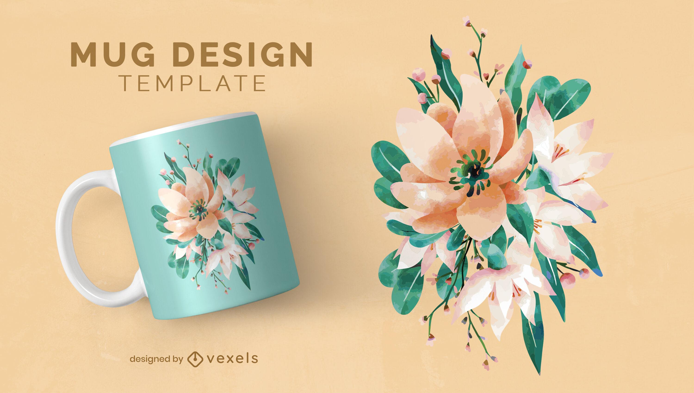 Watercolor flowers nature mug template