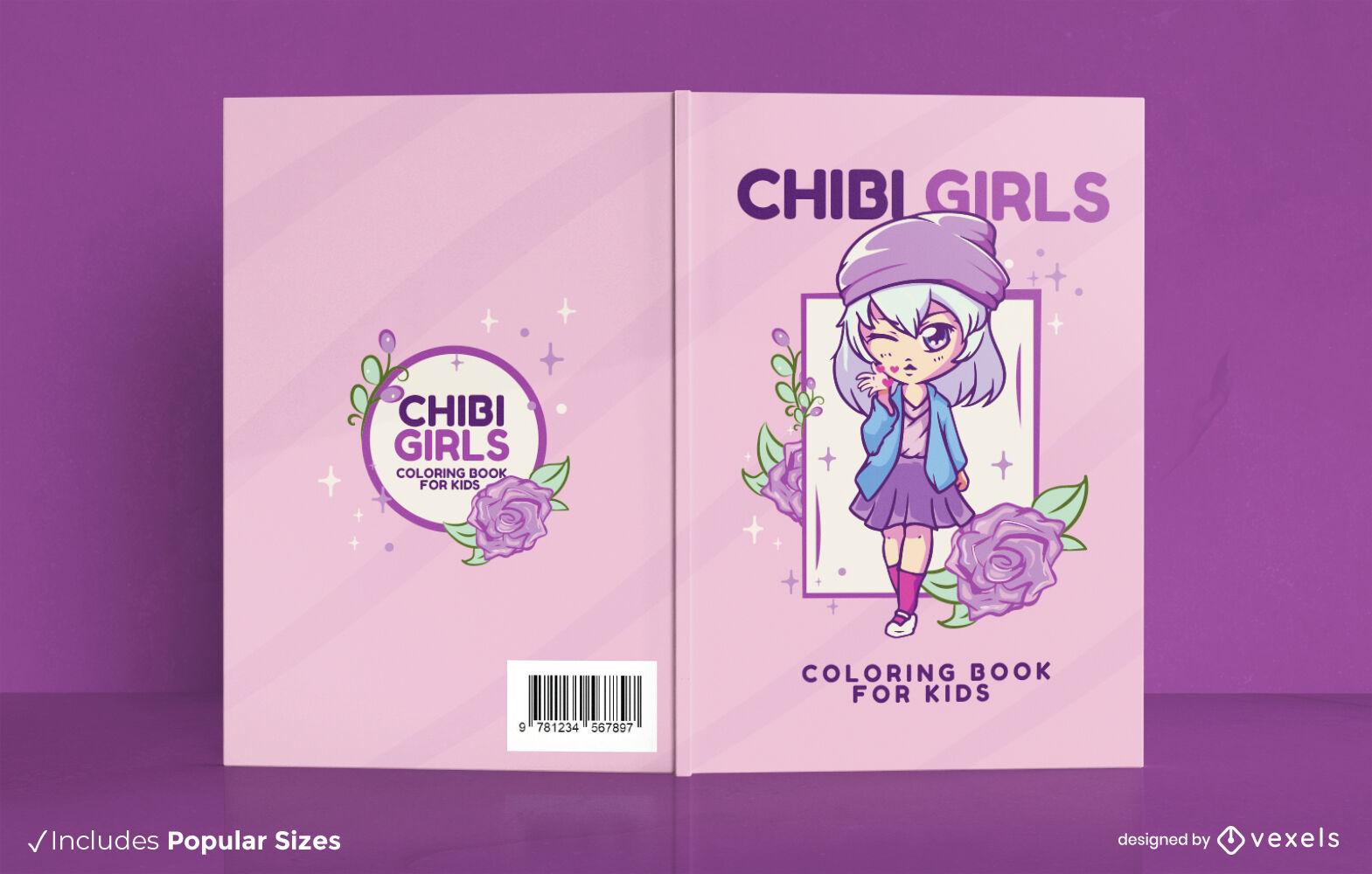 Design de capa de livro floral de garota chibi de anime