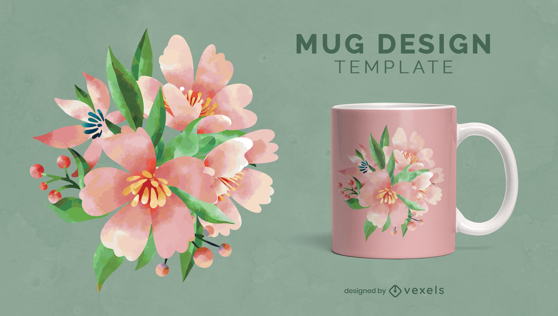 Diseño de taza de naturaleza de flores de acuarela