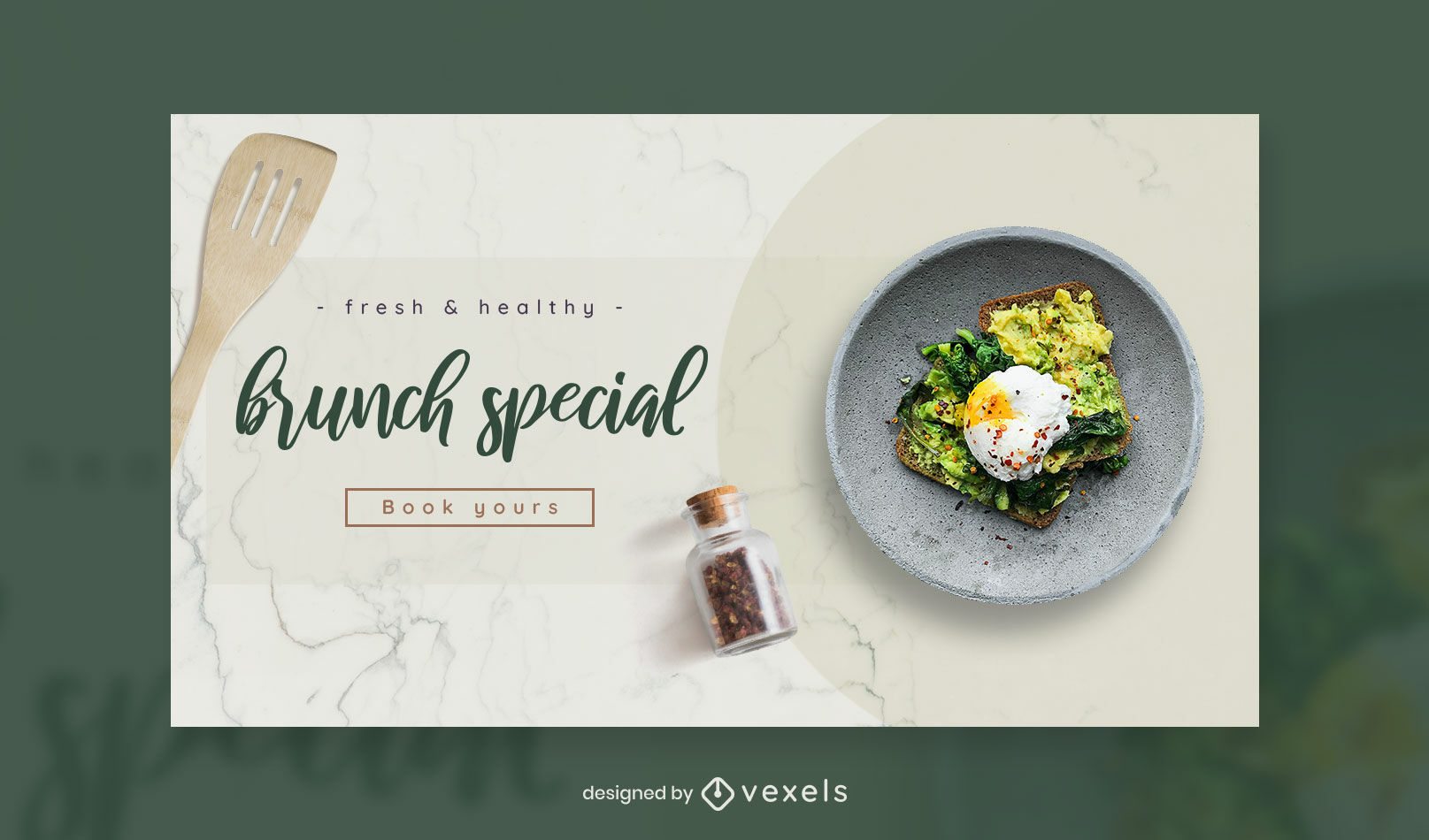 Healthy plate of food facebook cover template