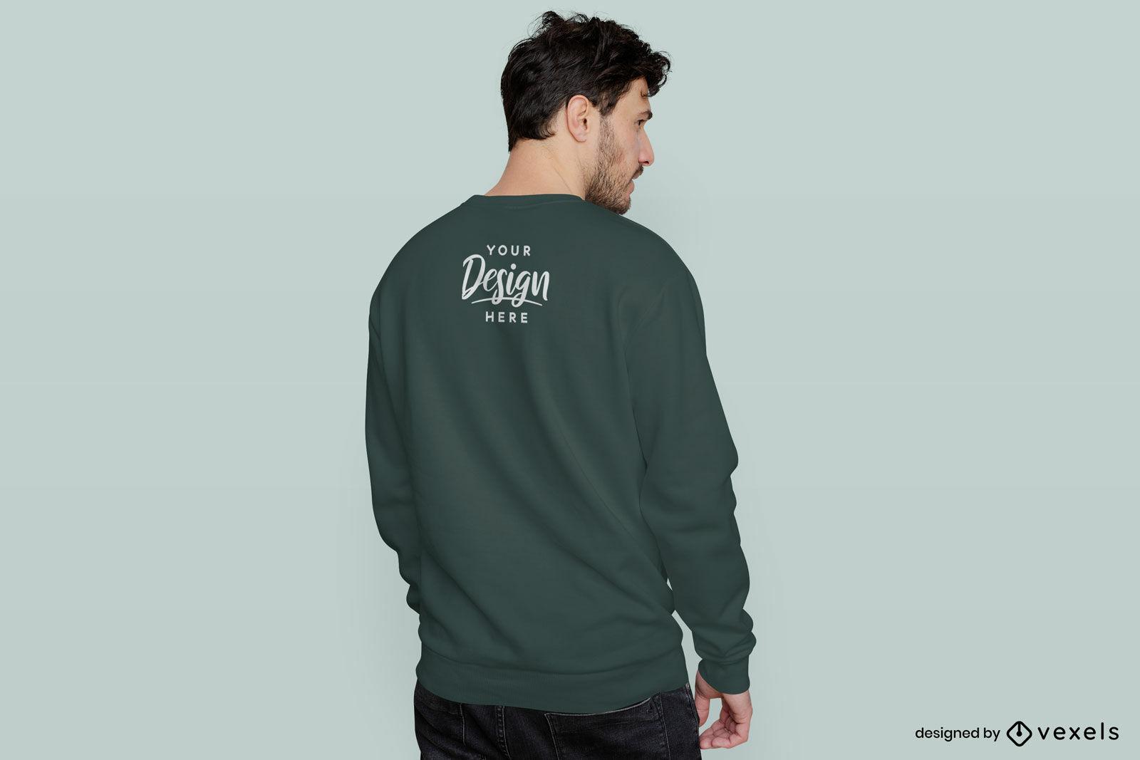 Flacher Hintergrund des grünen Rücken-Sweatshirtmannmodells