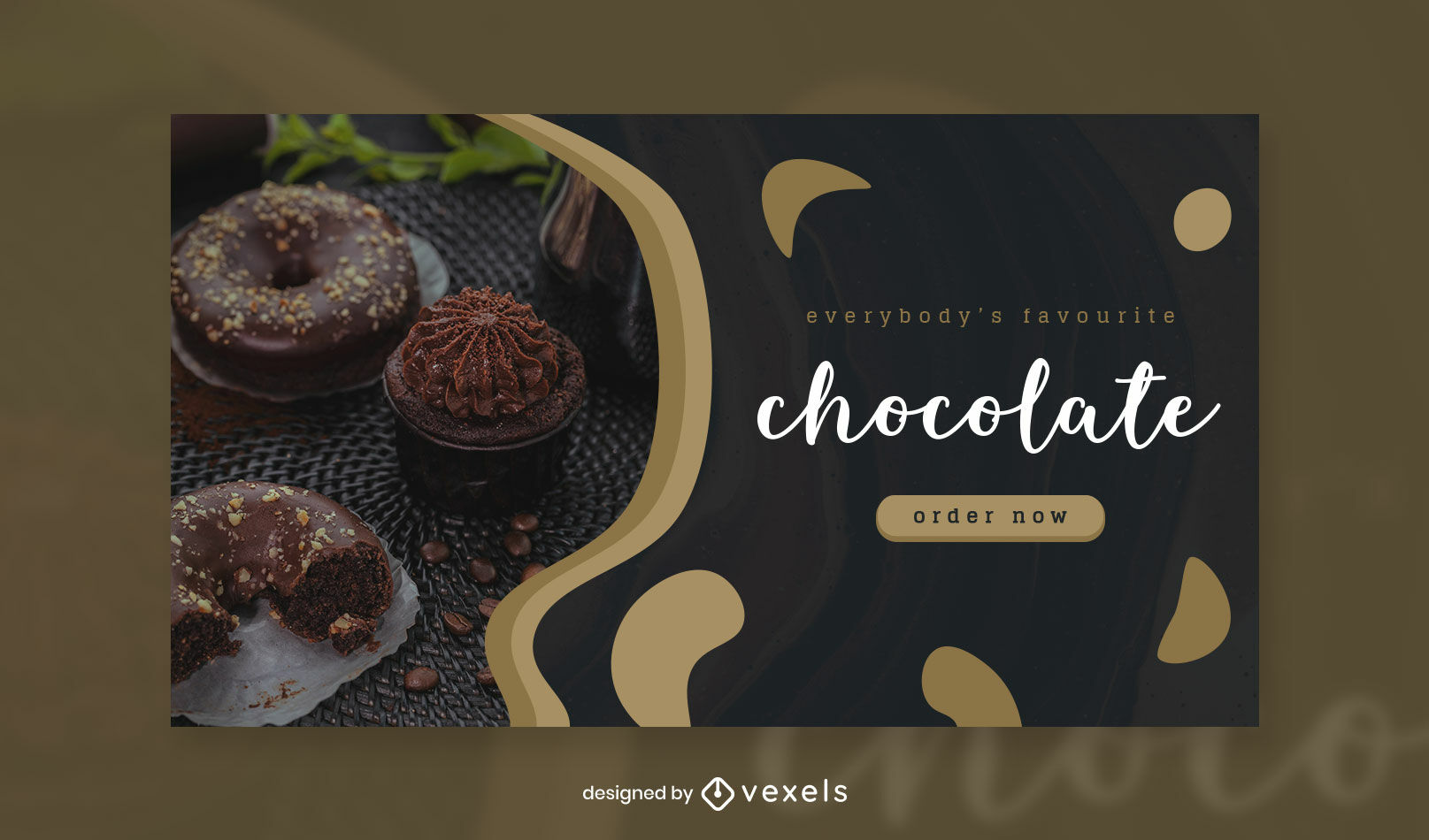 Chocolate lettering and image facebook cover template
