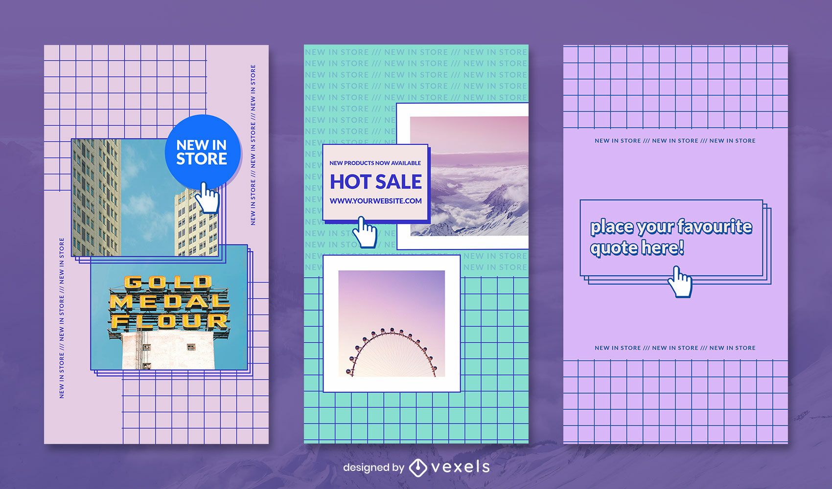 Vaporwave grid geometric colorful story template
