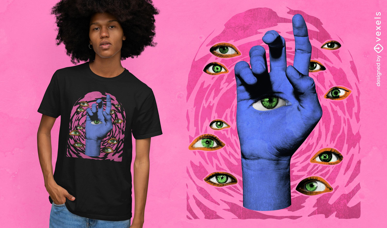 Design psicodélico de t-shirt psd para mãos e olhos