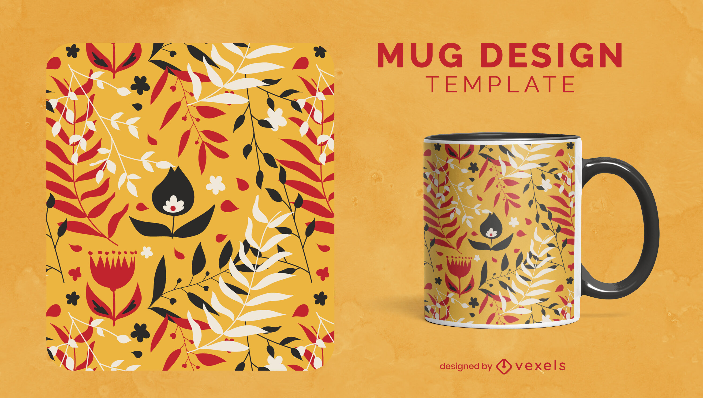 Leaves and plants nature mug template