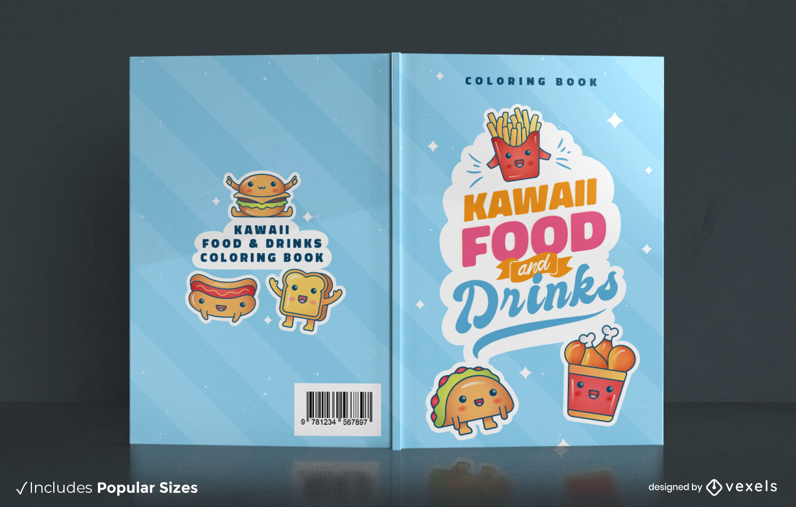 Diseño de portada kawaii de sabroso libro de comida rápida